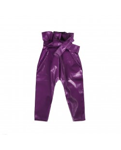 PAPER WAIST TROUSERS// GLOSSY PURPLE